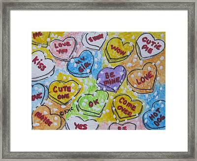 Valentine Candy Hearts Framed Print by Kathy Marrs Chandler