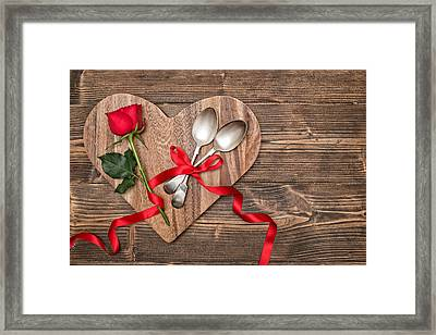 Valentine Table Setting Framed Print by Amanda And Christopher Elwell