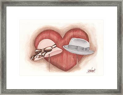 Valentine's Day's Two Hats Framed Print by Monica Carmona