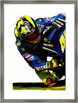 Valentino Rossi  Corner Speed IIi Framed Print by Iconic Images Art Gallery David Pucciarelli