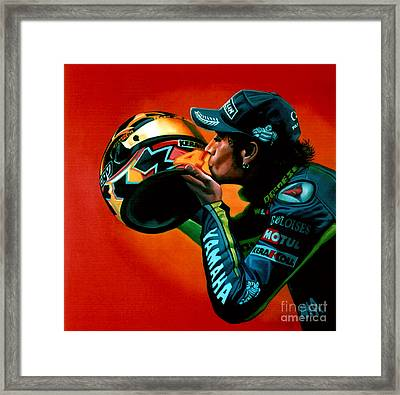 Valentino Rossi Portrait Framed Print by Paul Meijering