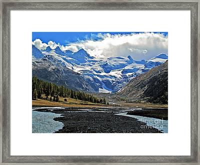 Valley Of A Glacier Framed Print by Elvis Vaughn