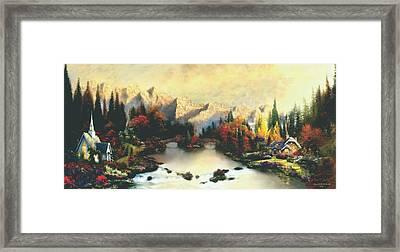 Valley Of Life  Thomas Kinkade Look A Like Framed Print by Jessie J De La Portillo