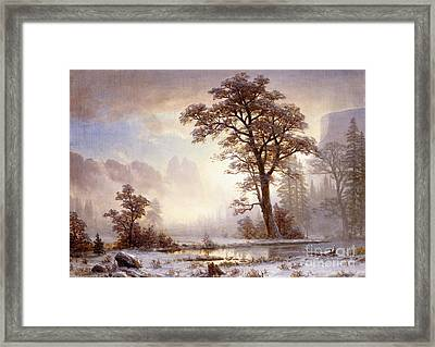 Valley Of The Yosemite Snow Fall Framed Print by Albert Bierstadt