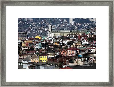 Valparaiso Buildings Framed Print by John Rizzuto