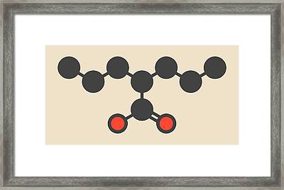 Valproic Acid Epilepsy Drug Molecule Framed Print by Molekuul