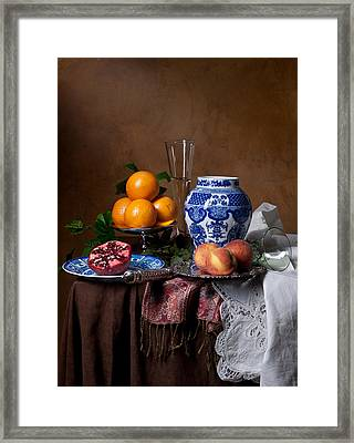 Van Beijeren - Banquet With Chinese Porcelain And Fruits Framed Print by Levin Rodriguez