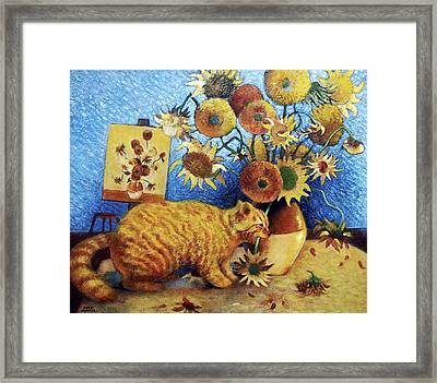 Van Gogh's Bad Cat Framed Print by Eve Riser Roberts
