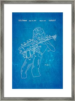 Van Halen Instrument Support Patent Art 1987 Blueprint Framed Print by Ian Monk