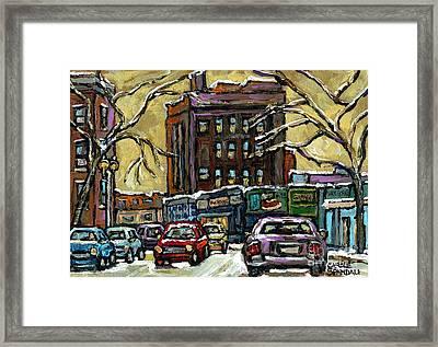 Van Horne Corner Ave Du Parc On The Road Again Montreal Cars In January City Life Paintings Cspandau Framed Print by Carole Spandau
