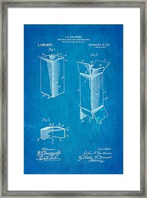 Van Wormer Milk Carton Patent Art 1915 Blueprint Framed Print by Ian Monk