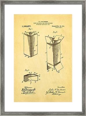 Van Wormer Milk Carton Patent Art 1915 Framed Print by Ian Monk