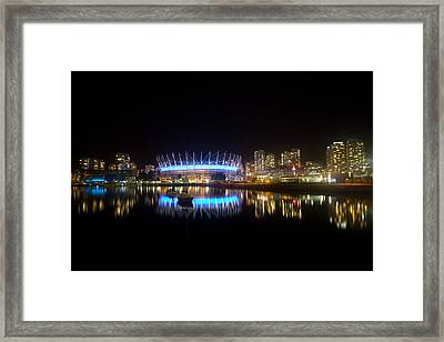 Vancouver At Night Framed Print by Eti Reid