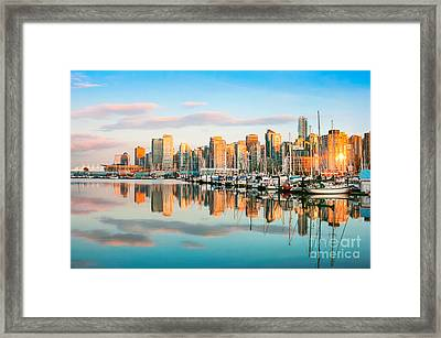 Vancouver At Sunset Framed Print by JR Photography