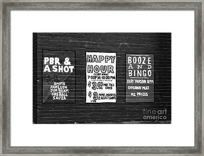 Vancouver Bar Signs Framed Print by John Rizzuto