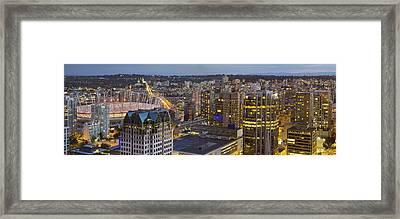 Vancouver Bc Downtown Cambie Bridge At Night Framed Print by JPLDesigns
