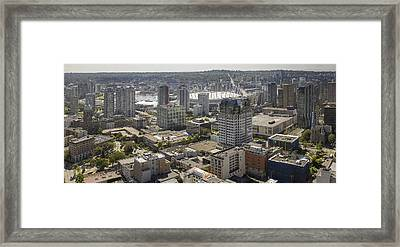 Vancouver Bc Downtown With Cambie Bridge Framed Print by JPLDesigns
