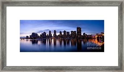 Vancouver Bc Skyline By Cambie St. Bridge Framed Print by Terry Elniski