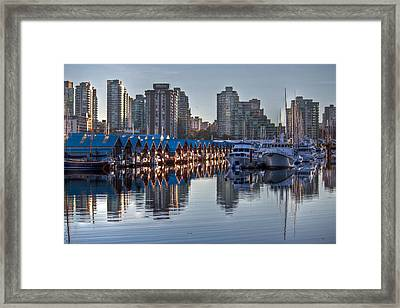 Vancouver Boat Reflections Framed Print by Eti Reid