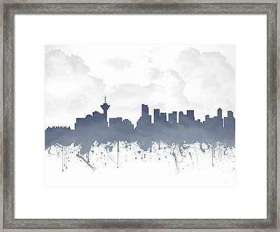 Vancouver British Columbia Skyline - Blue 03 Framed Print by Aged Pixel
