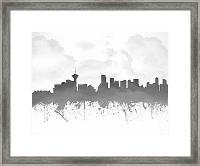 Vancouver British Columbia Skyline - Gray 03 Framed Print by Aged Pixel