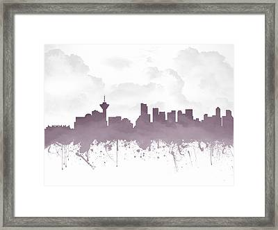 Vancouver British Columbia Skyline - Purple 03 Framed Print by Aged Pixel