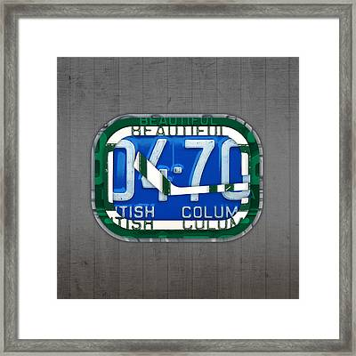 Vancouver Canucks Hockey Team Retro Logo Vintage Recycled British Columbia Canada License Plate Art Framed Print by Design Turnpike