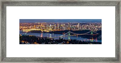 Vancouver City With Lions Gate Bridge At Twilight Framed Print by Pierre Leclerc Photography