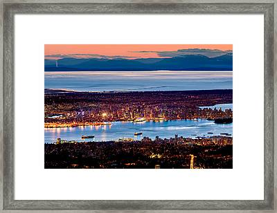 Vancouver From Above Crop Framed Print by Alexis Birkill
