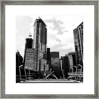 Vancouver Olympic Cauldron- Black And White Photography Framed Print by Linda Woods