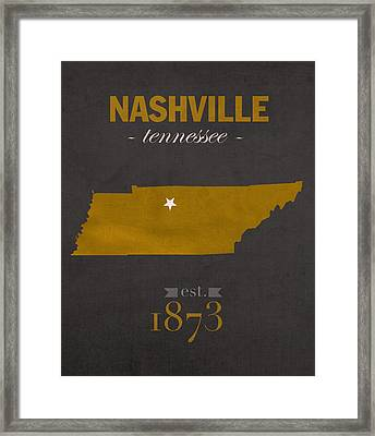 Vanderbilt University Commodores Nashville Tennessee College Town State Map Poster Series No 118 Framed Print by Design Turnpike