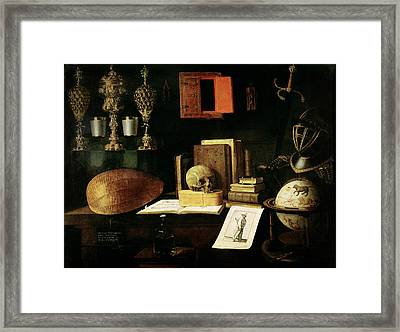 Vanitas Still Life, 1641 Oil On Canvas Framed Print by Sebastian Stoskopff
