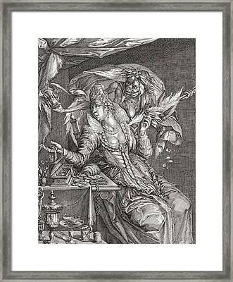 Vanitas With Death And A Maiden, After Jacob De Gheyn.  From Illustrierte Sittengeschichte Vom Framed Print by Bridgeman Images
