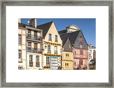 Vannes Brittany France Half Timbered Buildings Framed Print by Colin and Linda McKie