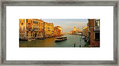 Vaporetto Water Taxi In A Canal, Grand Framed Print by Panoramic Images