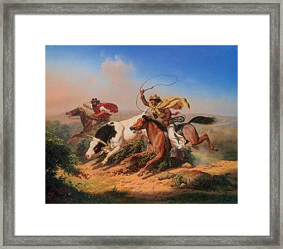 Vaqueros Roping A Steer Framed Print by Charles Christian Nahl