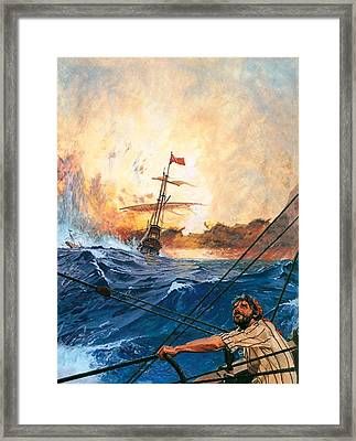 Vasco Da Gama's Ships Rounding The Cape Framed Print by English School