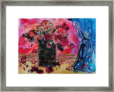 Vase And Blue Curtain Framed Print by Diane Fine
