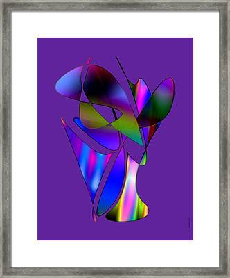 Vase And Flowers In Abstract Designs Framed Print by Mario Perez