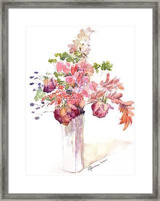 Vase Of Dried Flowers Framed Print by Claudia Hafner