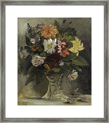 Vase Of Flowers, 1833 Framed Print by Ferdinand Victor Eugene Delacroix