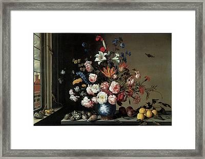 Vase Of Flowers By A Window Framed Print by Balthasar Van Der Ast
