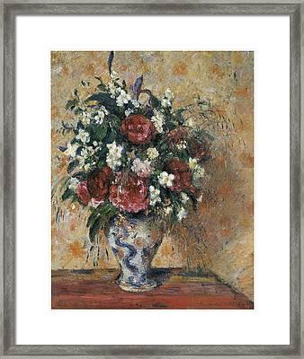 Vase Of Flowers Framed Print by Camille Pissarro