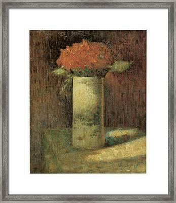 Vase Of Flowers Framed Print by Georges Seurat
