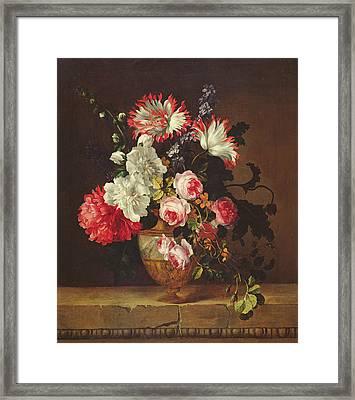 Vase Of Flowers Framed Print by Gerard van Spaendonck