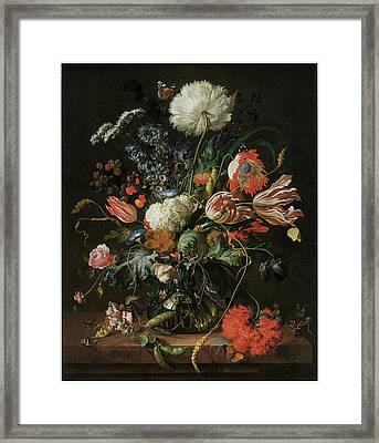 Vase Of Flowers Framed Print by Jan Davidsz De Heem