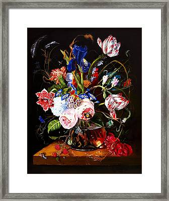 Vase Of Flowers Framed Print by Terry  Stokely