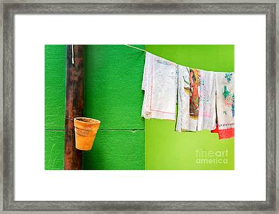 Vase Towels And Green Wall Framed Print by Silvia Ganora