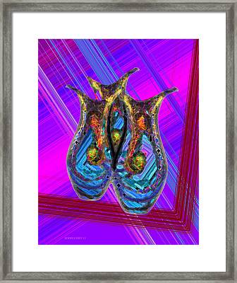 Vases Composition With Lines Framed Print by Mario Perez