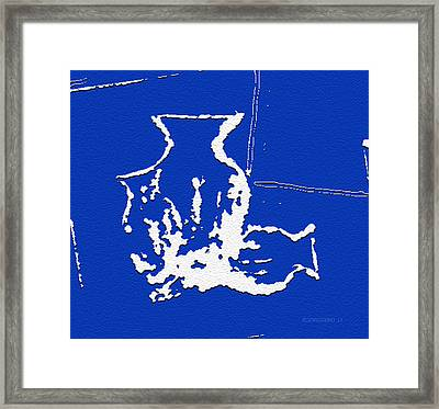 Vases In Blue Framed Print by Mario Perez
